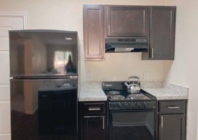 fridge and cabinets