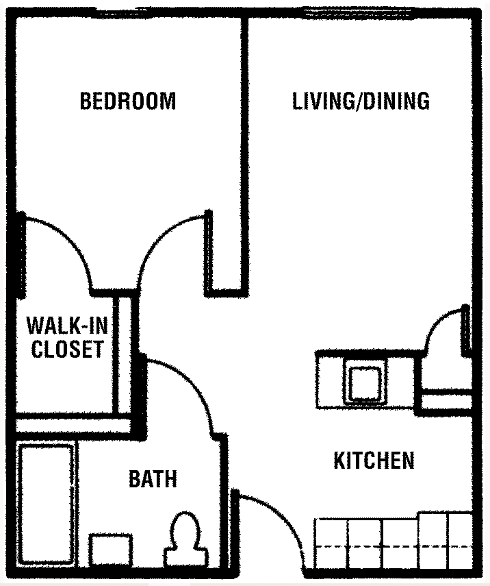 Floor plan of a 1 bed, 1 bath townhome