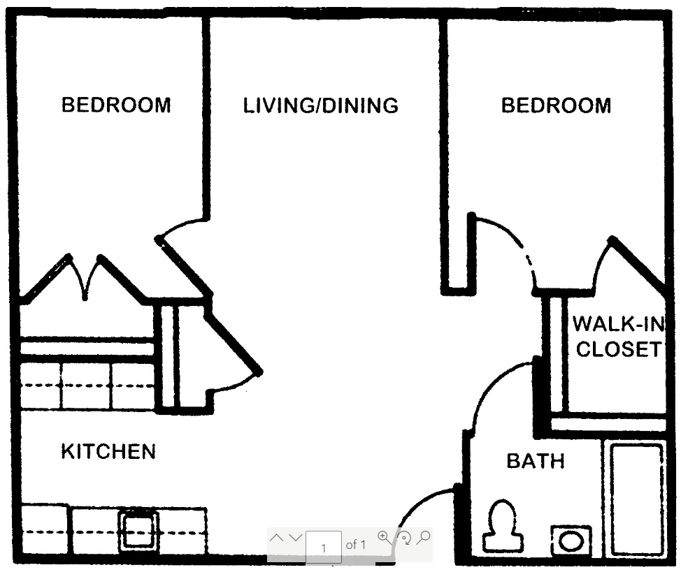 Floor plan of a 2 bed, 1 bath townhome